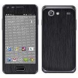 atFoliX Skin Compatibile con Samsung Galaxy S Advance GT-I9070, Sticker Pelle (FX-Brushed-Black), Struttura Spazzolato/Spazzolato