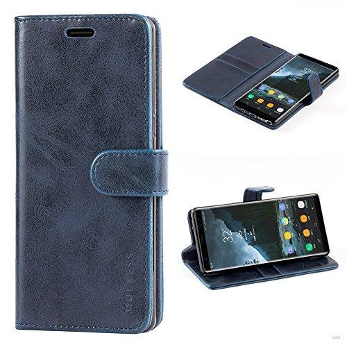 Mulbess Handyhülle für Samsung Galaxy Note 8 Hülle, Leder Flip Case Schutzhülle für Samsung Galaxy Note 8 Tasche, Dunkel Blau