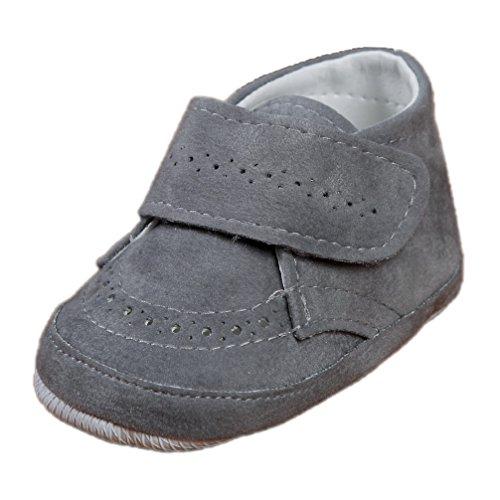 Festliche Babyschuhe Baby Schuhe für Jungen grau Klettverschluss Modell 4914-g (17 (3-6 M.))