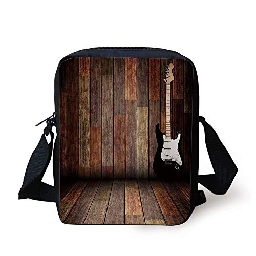 Popstar Party,Electric Guitar in The Wooden Room Country House Interior Music Theme,Brown Black White Print Kids Crossbody Messenger Bag Purse - Popstar Guitar