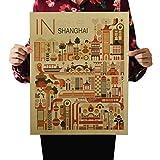 Shanghai ein Tag retro Vintage Kraftpapier Poster indoor