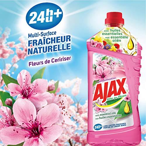 Ajax Produit Ménager Entretien, Nettoyant Sol Multi-surfaces, Fête des Fleurs, Cerisier, 1,25 L- Lot de 4