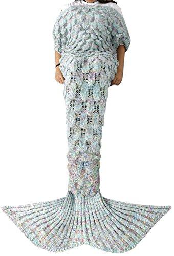 YiZYiF Meerjungfrau Decke Handgemachte Gestrickt Schlafsack Strick Decke Mermaid Tail Blanket Kostüm für Baby Kinder Erwachsene (Für Damen, Celadon)