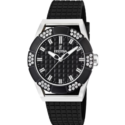 Festina Ladies Analogue Watch F16563/3 with Rubber Strap and Black Dial
