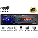 Dulcet DC-ST-9090 Double IC High Power Universal Fit Mp3 Car Stereo with Bluetooth/USB/FM/AUX/MMC/Remote & Built-in Equalizer with Bass & Treble Control [Also, Includes a Free 3.5mm Aux Cable]
