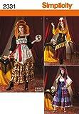 Simplicity 2331 HH - Patrones de costura para disfraces de mujer (tallas 34 a 40), diseño de gitana