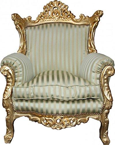 Antik Stil Barock Sessel Al Capone Mod2 Jadegrün/Beige/Gold 85 x 65 x H. 127 cm - Barockmöbel
