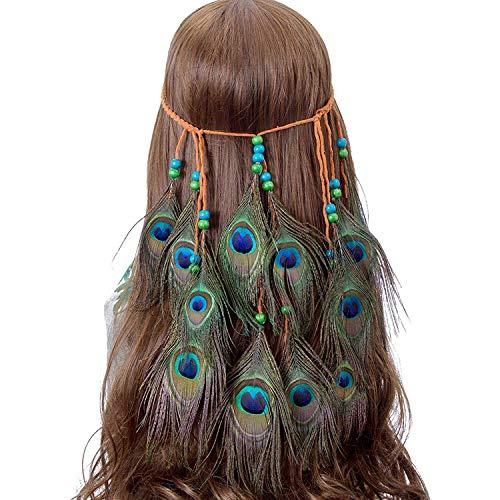 AWAYTR Feder Stirnband Traum Fänger Hohl - Hippie Boho Pfau Fasan Gefieder Perlen Einstellbar Kopfschmuck (mehrfarbig)
