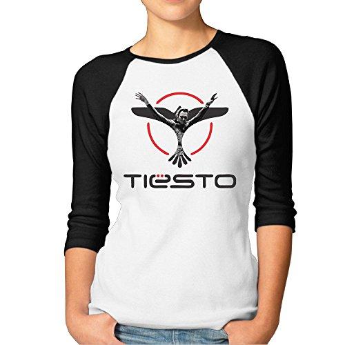 Frau Tiesto 3/4Sleeve Baseball Tshirt Raglan Jersey Shirt, Damen, schwarz (Tops Mit Eitelkeiten)