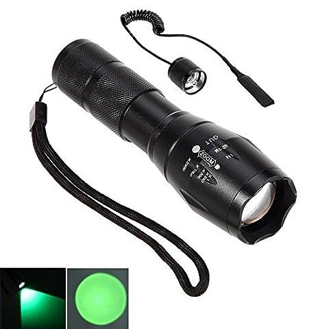 Linterna LED rojo rayo Cree zoom de enfoque ajustable de la antorcha para la caza táctico Senderismo (Reflector LED + del interruptor de presión alejado) (Green)