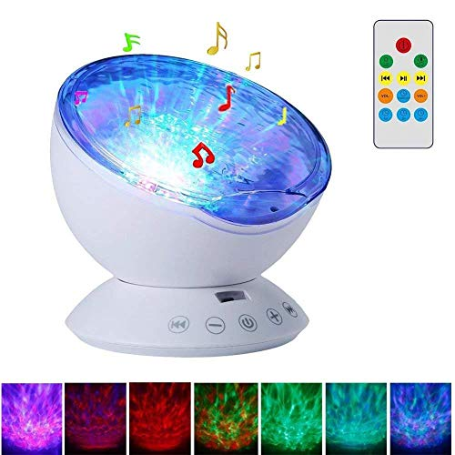 Projection Lamp Baby Light LED Projector with 7 Lighting Modes, Built in Mini Music Player, TF Card Slot for Baby Children Nursery Living Room Decoration ()