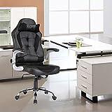 mecor Gaming Stuhl Racing Stuhl Leder Bürostuhl Chefsessel Schreibtischstuhl mit Armlehnen & Höhenverstellung & Wippfunktion & Kopfkissen Schwarz