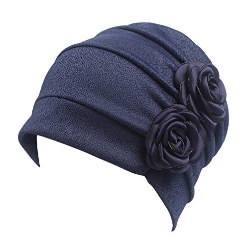 iShine Turban Frauen Stirnband Mädchen Hut Kappe Islamischer Damen Muslim Kopftuch mit zwei Blumen in Baumwolle Spandex One Size Haarausfall Krebs Chemo Atmungsaktive Dunkelblau (Hüte Afrikanische Frauen Für)