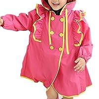 zhxinashu Children Raincoat Kids Girl Ruffle Flounce Princess Cute Baby Female Rainwear Poncho Waterproof Trench Jacket