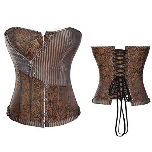 POLLYEDEN Frauen Steampunk Korsett Gothic Stahl ohne Knochen Lace Up Back Abnehmen Body Bustier ()