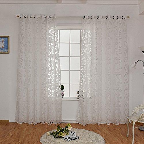 Tenda Transparent Voile Tulle Decorazioni Tenda Floreale per Finestre, Soggiorno, Camera da Letto (250cmx100cm)