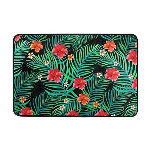 Floral Kelim Teppich (Wamnu Doormat Super Absorbs Mud Non-Slip Indoor and Outdoor Door Mat with Tropical Floral Pattern for Front Door Inside Floor Dirt Trapper Mats 15.7