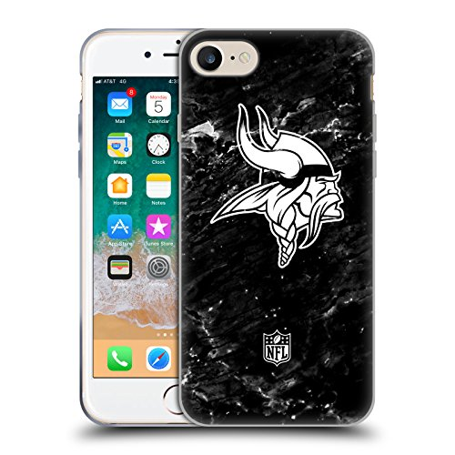 Head Case Designs Offizielle NFL Marmor 2017/18 Minnesota Vikings Soft Gel Hülle für iPhone 7 / iPhone 8 Viking 8