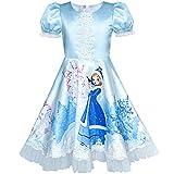 Sunboree Mädchen Kleid Blau ELSA Anna Schnee Schloss Party Prinzessin Gr. 104
