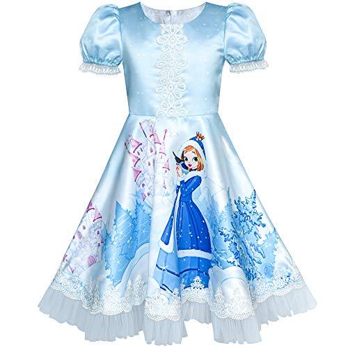 Sunboree Mädchen Kleid Blau ELSA Anna Schnee Schloss Party Prinzessin Gr. 110
