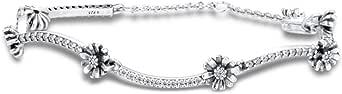BAKCCI 2020 - Braccialetto da donna a forma di margherita, in argento 925, adatto per braccialetti Pandora originali