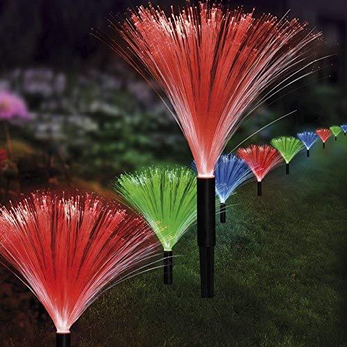 EASYmaxx - 03935 Cadena de luces LED solares, fuente | Sensor de luz diurna | Juego de 10 unidades en color azul, verde y rojo