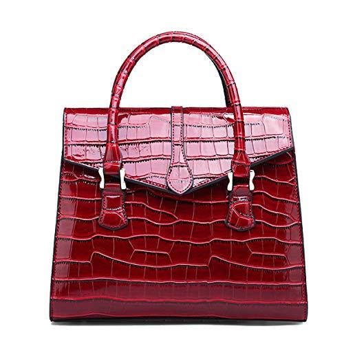 NIYUTA Damenhandtaschen Mode Schultertaschen Lackleder Shopper Reise Freizeit Umhängetaschen - Krokodil Geprägtes Leder Handtasche