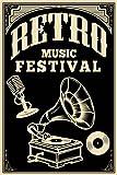 Postereck - Poster 1128 - Retro Music Festival, Plakat LP Vintage Plattenspieler Größe 3:2-30.0 cm x 20.0 cm