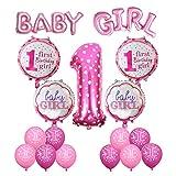 Geburtstag Dekoration Aufblasbar Helium Folie Ballons,Cocodeko Happy Birthday Baby Girl Mädchen 1. Geburtstag Party Luftballons Set Supplies, Party Dusche Foto Requisiten Zahl 1 rund Herz - Rosa