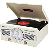 Groove Vinyl Turntable with Retro Style FM Radio - Cream