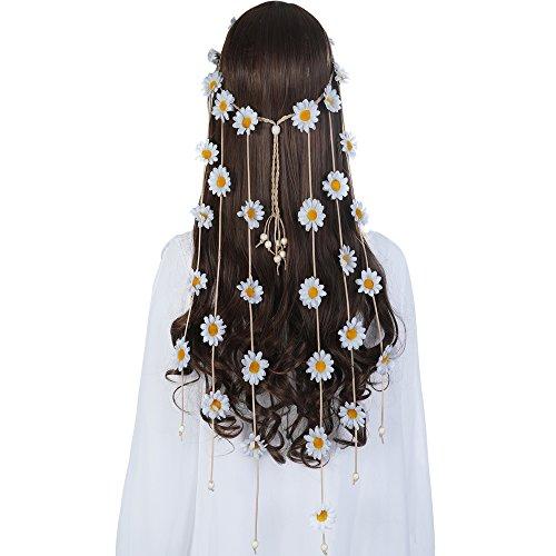 Bohemia Flower Hippie Headband Garland - AWAYTR Handmade Sunflowers Hair Wreath Crown with Adjustable Wood Beads (White)