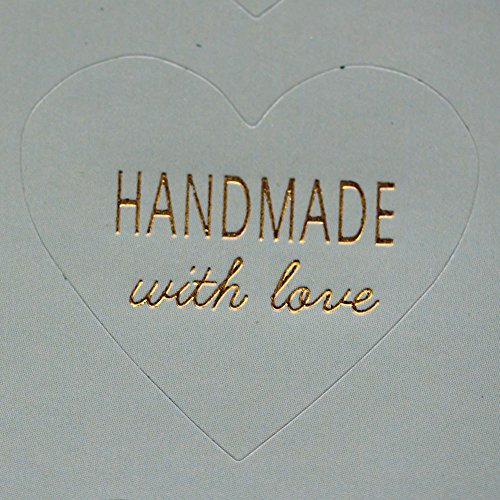Verde menta con forma de corazón 'hecho a mano con amor' pegatinas...