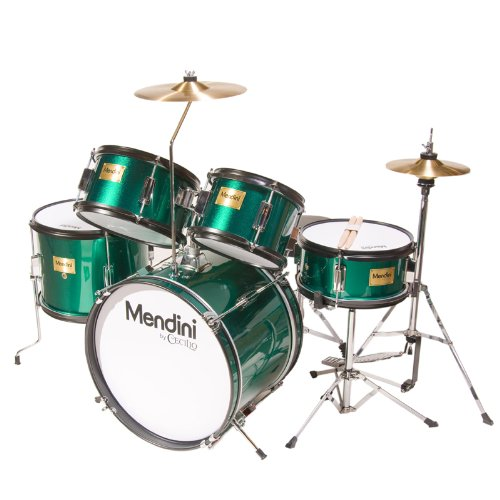 mendini-mjds-5-gn-junior-drum-set-green
