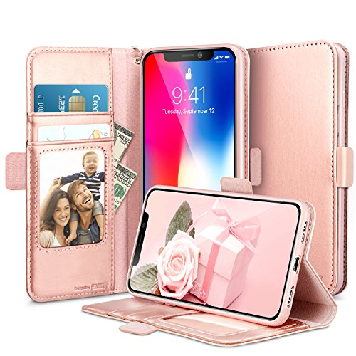Coque iPhone X, ESR iPhone 10 Coque à Rabat Portefeuille en Cuir PU ... dcf821348d87