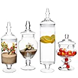 #6: (Set of 4) Large Classic Clear Glass Lid Apothecary Jars / Candy Buffet / Wedding Centerpiece - MyGiftÃÂ'Ã'® Home by MyGift