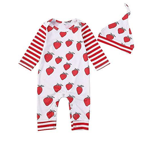 Baby Strampler Spielanzug + Hut Kostüm Outfits Set Niedlich Langarm Einteiler Spieler Jungen Mädchen Overall Lonshell 0-24 Monate Neugeborenes - Niedliche Mädchen Twin Kostüm