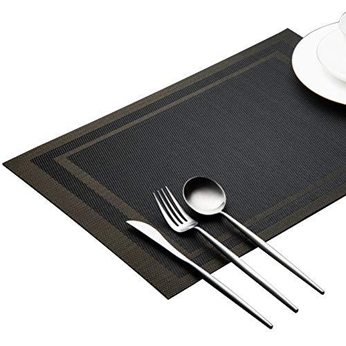 Leisial Tapis de Table d'Hôtel Rectangulaire en PVC Tapis de Séchage Vaisselle Sets de Table Antidérapants Isolant(Noir)