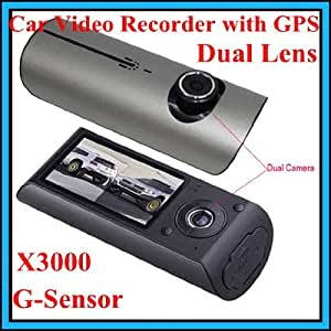 X3000 2,7 140 ° DUAL LENS TABLEAU DE BORD CAMERA DVR VOITURE BLACK BOX VIDEO ENREGISTREUR + GPS LOGGER