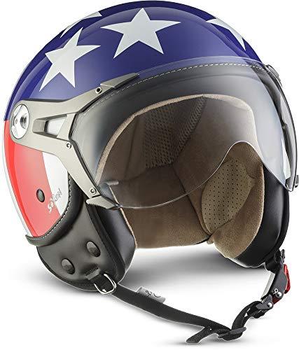 SOXON SP-325 Usa · Jet-Helm Chopper Scooter-Helm Retro Vintage Pilot Vespa-Helm Helmet Bobber Roller-Helm Biker Mofa Cruiser Motorrad-Helm · ECE zertifiziert · mit Visier · inkl. Stofftragetasche · Blau · M (57-58cm)