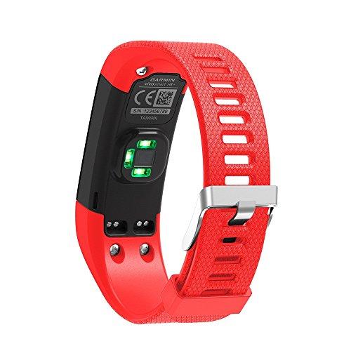 Janly Bracelet de Remplacement en Silicone Souple Bracelet Sport Wristband Accessoire pour Garmin Vivosmart HR + (Rouge)