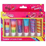 GirlZone: Regenbogen Glitzer Lipgloss 6er Set - Kinder Lippenstifte Set - Party Mädchen Geschenke ab 3 - 10 + Jahre Alt - Kinder Make Up - Mädchen Schminkset