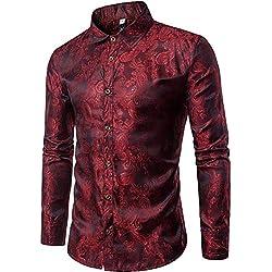 Camisa Casual con Botones Manga Larga para Hombre Dragón Rojo Granate S