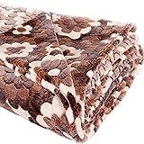Kuscheldecke Flower, Microfaser Fleece-Decke XXL, 200x230 cm, rot braun, flauschig weiche Wohndecke für Erwachsene und Kinder