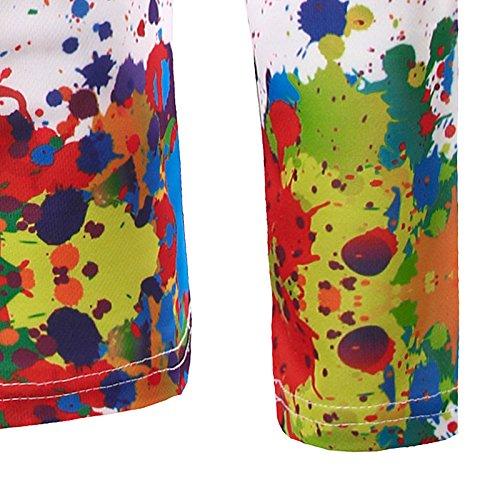 BOMOVO Herren 3D-Druck Shirt Techfit Base Langarm Funktionsunterwäsche Weiß