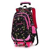 Mädchen Studenten Polyester Oxford Tuch Trolley Tasche Doppelter Schulter Rucksack Handzug Box , Black , Two wheels