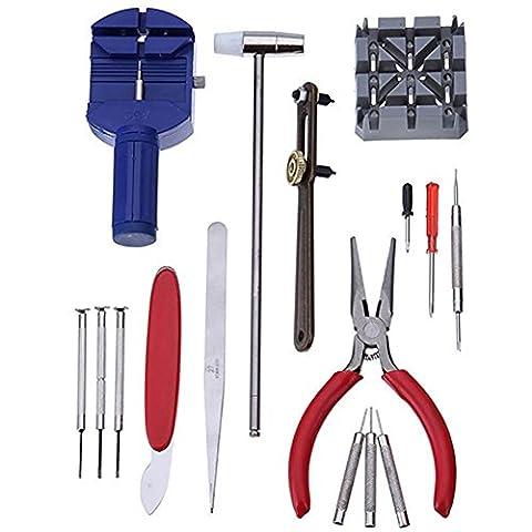 16pcs Deluxe montre Opener Tool Kit bracelet Lien Pin Remover réparation outils de broches