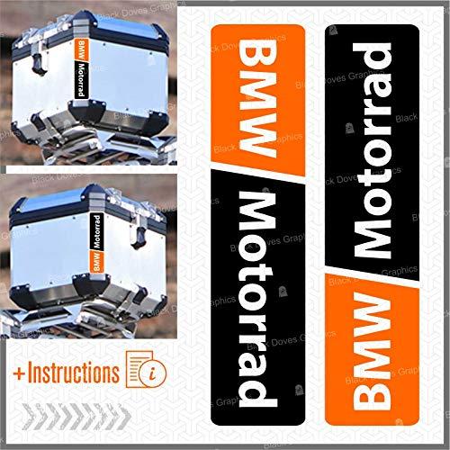 2pcs RIFRANGENTI ADESIVI compatibile con Motorrad R 1200 1150 1250 F 800 650 F700 GS A R1200GS R1200 Touratech Motorcycle Aluminium Panniers Top Case (Nero/Arancione)