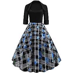 ba zha hei-Mujer Ropa BaZhaHei Vestidos de Falda Vestido Largo con Cuello Redondotampado de Noche anga Cuello Redondo Fiesta Vintage Vestido de anga con Estampado usical y Cuello para Mujer M Blue 1