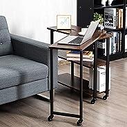 طاولة جانبية للاريكة دوارة 360 درجة من فوردين، تاتي مع ارفف من طبقتين، طاولة لابتوب قابلة للنقل مع اطار معدني
