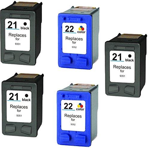 Prestige Cartridge 5 x HP 21XL HP 22XL Cartuchos de tinta, color y negro